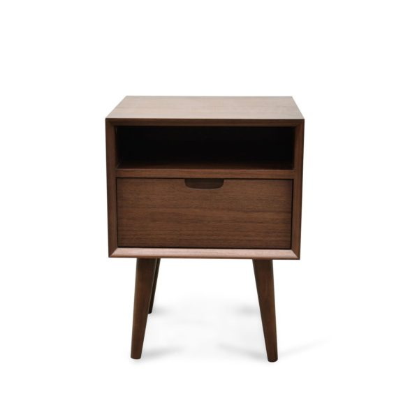 Asta Scandinavian Bedside Cabinet - Walnut Finish