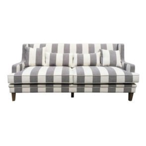 Grey Cream Wide Stripe 3 Seater Sofa