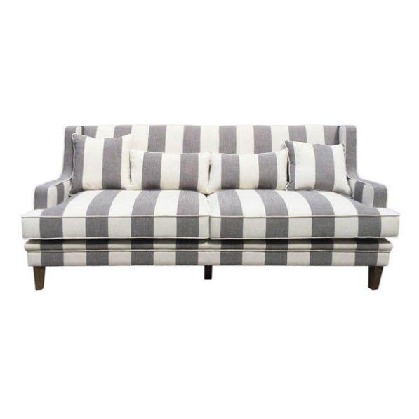 Grey Cream Wide Stripe 3 Seater Sofa