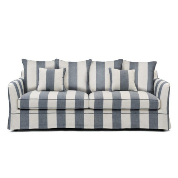 Denim/Cream Stripe 3 Seater Sofa
