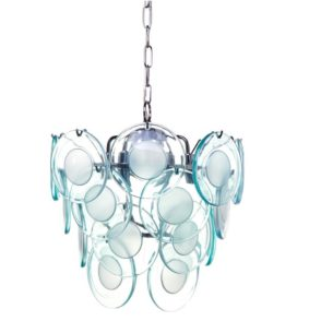 Pearce Glass Disc Pendant - Aqua