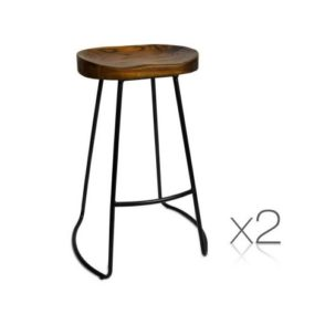 Black Steel Frame And Wood Seat Bar Stool Set