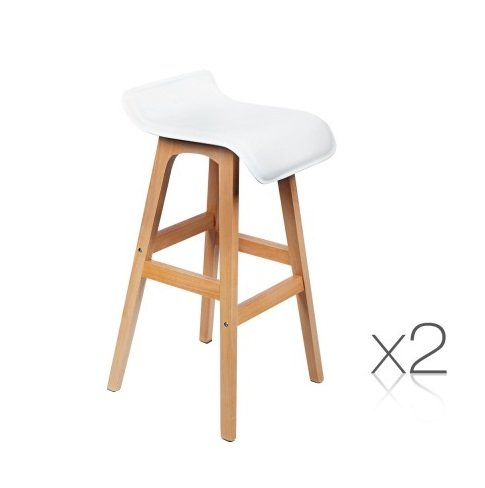 Beech Wood And White Bar Stool Set