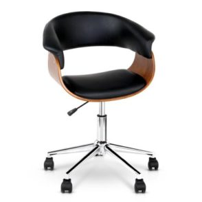 PU Leather Wood Curved Office Chair