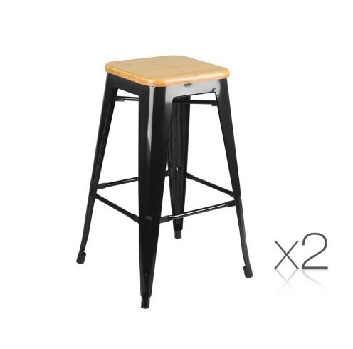 Replica Tolix Black Kitchen Bar Stool Set