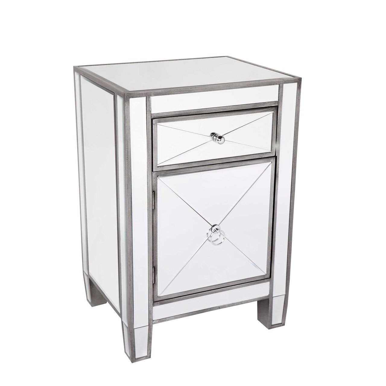 Apolo mirrored bedside table online furnitures the for Mirror bedside table