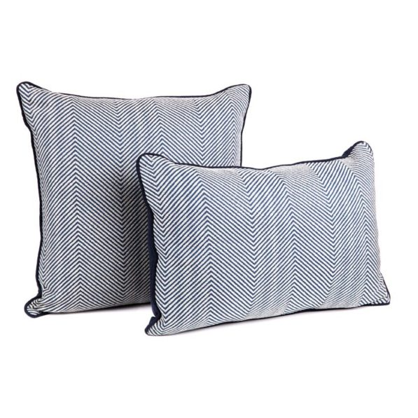 Candace Chevron Cushion - Navy