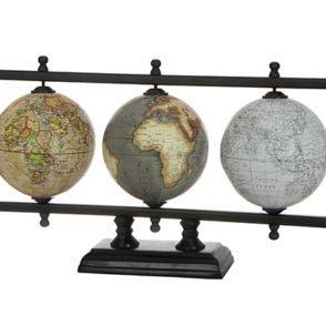 Iron World Globe Set On Black Stand