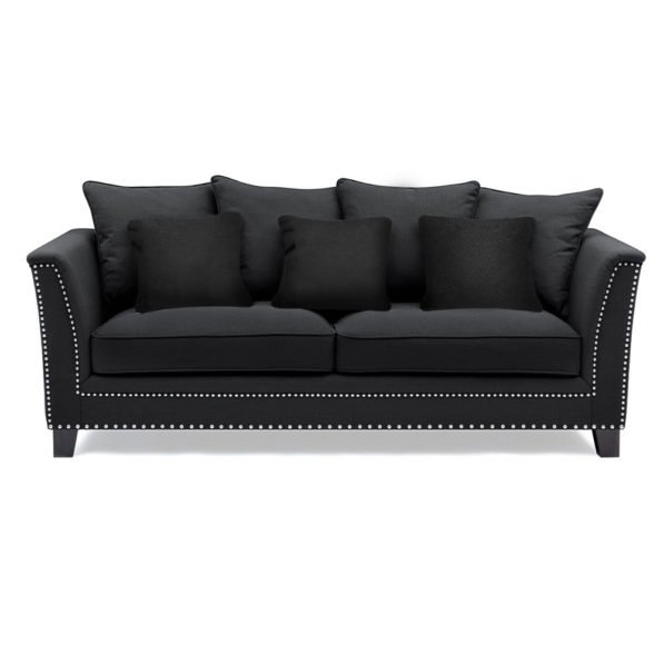 Black Cushioned Stud Sofa