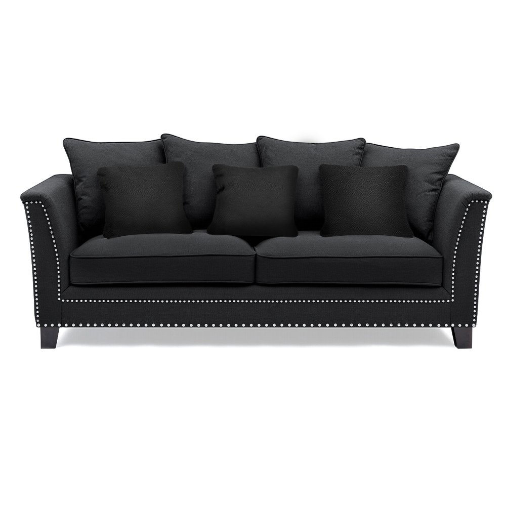 Black cushioned stud sofa the interior designer for Sofa with studs