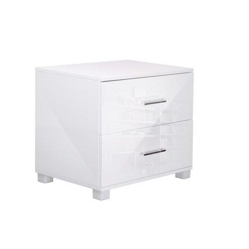 Bedside Table Cabinet Lamp Unit - White - The Interior Designer