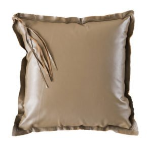 Soft Leather Tassel Camel Cushion