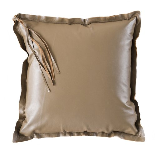 Soft Leather Tassel Camel Cushion
