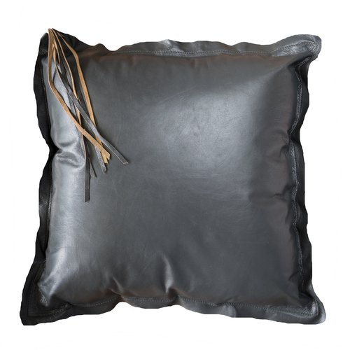 Soft Leather Tassel Graphite Cushion