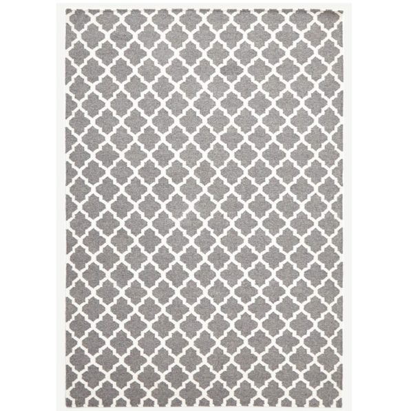 Bazaar Trellis Wool Weave Rug - Grey