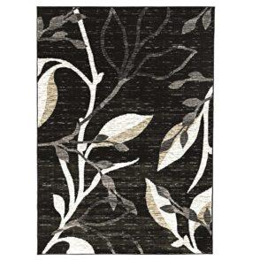Designer Branch Pattern Rug - Charcoal