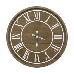Timber Clock Cream Roman Numerals