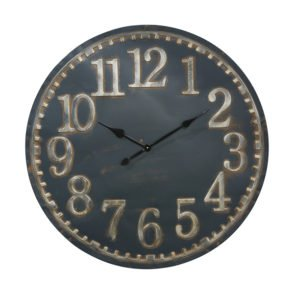 Blue Metal Clock Gold Numbers