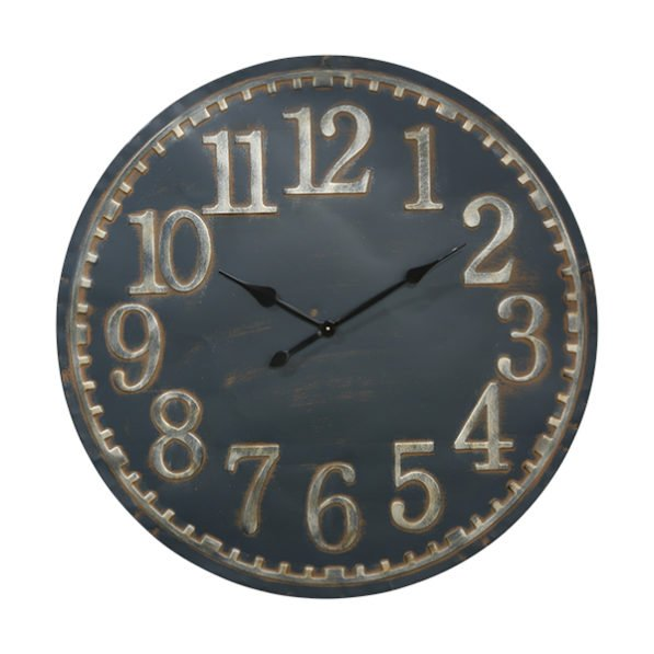Blue Metal Clock Gold Numbers